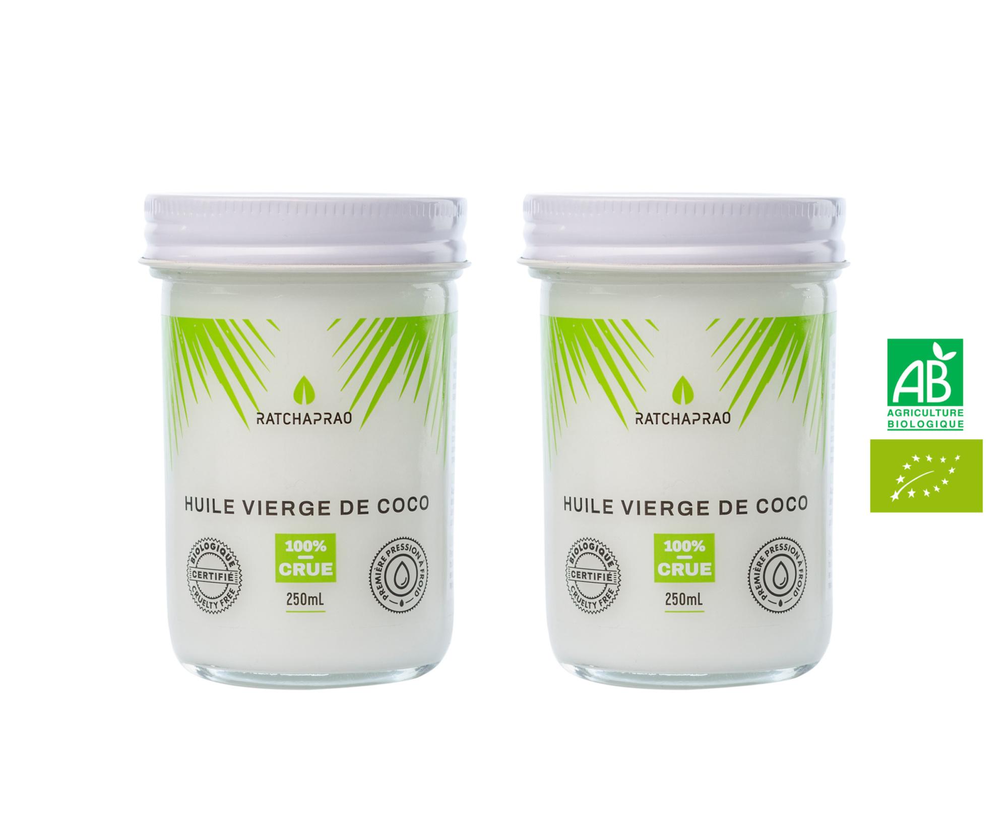 Lot pots huile vierge de coco RATCHAPRAO 2x250ml