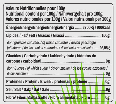 valeurs nutritionnelles huile de coco Ratchaprao