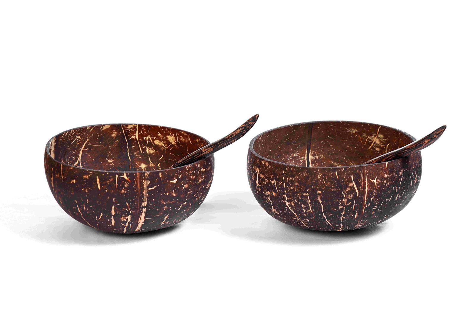 deux bols noix de coco avec cuillère en bois