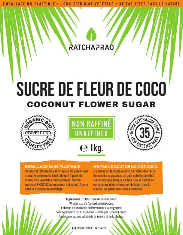 sucre de coco Ratchaprao étiquette